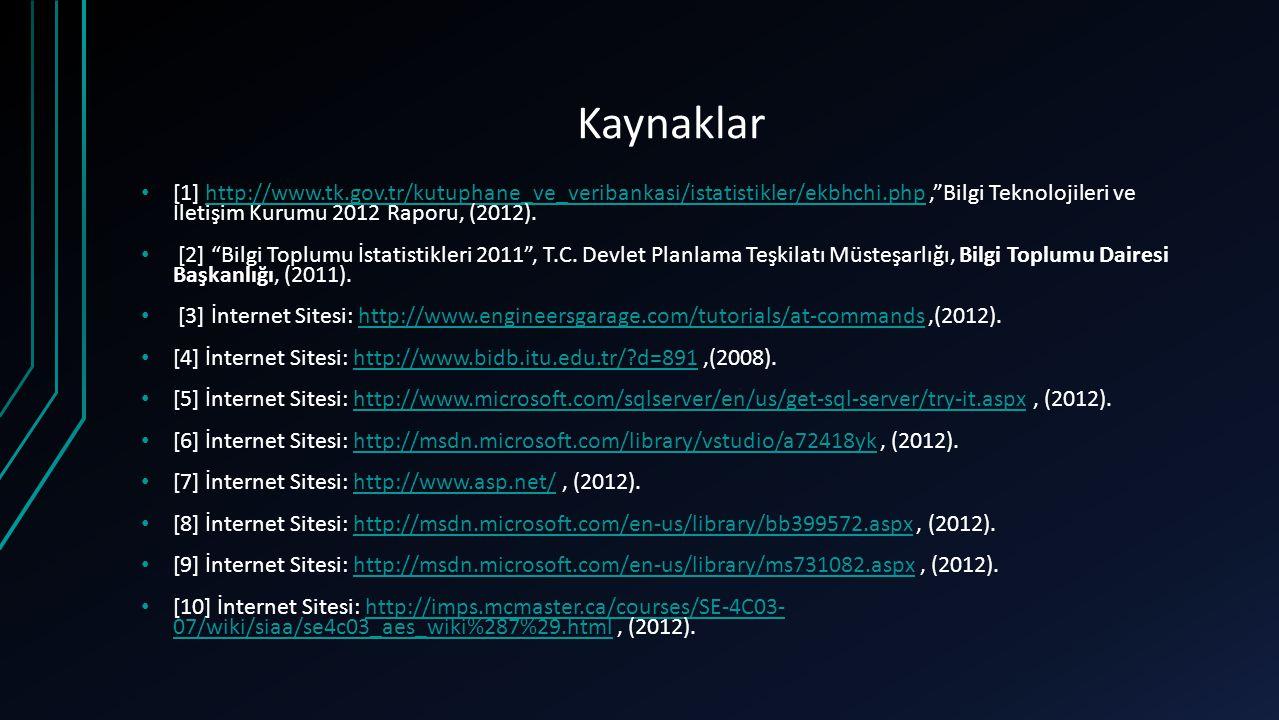 Kaynaklar [1] http://www.tk.gov.tr/kutuphane_ve_veribankasi/istatistikler/ekbhchi.php , Bilgi Teknolojileri ve İletişim Kurumu 2012 Raporu, (2012).